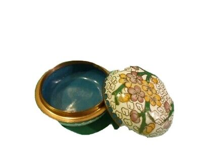 """Beautiful Vintage Asian Floral Blossom Cloisonne 3 3/"""" trinket Jewelry Box"""