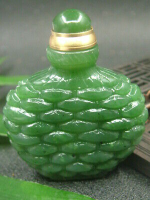 Antique Chinese Nephrite Hetian -OLD Green jade Hollow Slub Statue Snuff bottle