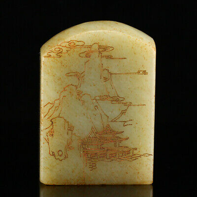 52mm China antique Natural hetian old jade carved landscape Seal cutting statue