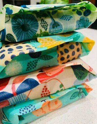 7 x Large Wraps -  Orgainc Beeswax Wraps for Bread, Herbs, Vegetables