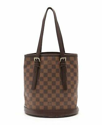 LOUIS VUITTON bucket Marais Damier Ebene tote bag PVC leather brown