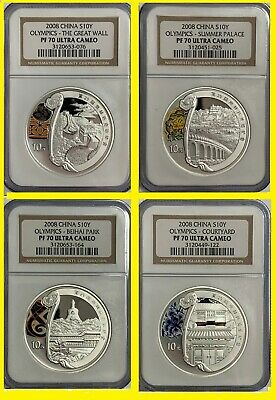 2008 CHINA OLYMPIC complete 4 SILVER coins set 2 ALL NGC PF 70 ULTRA CAMEO