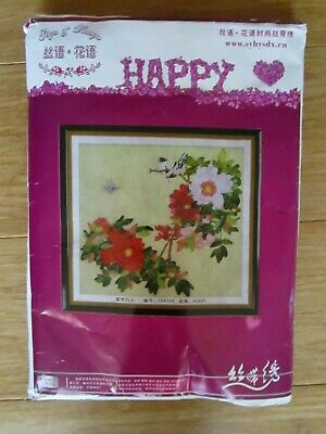 Ribbon Embroidery Happy Brand Kit Of Flowers A Bird & Butterfly From China.