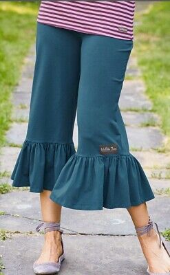 Matilda Jane ALPHA Big Ruffles Small S Cropped Capris Teal Blue Women's NWT