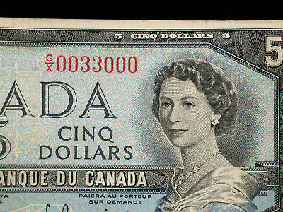 Canada 1954 Five Dollars with neat serial #0033000 Otter Falls Alaska Highway