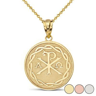 Solid Gold Or .925 Silver Ancient Christian Chi Rho Px Symbol Pendant Necklace