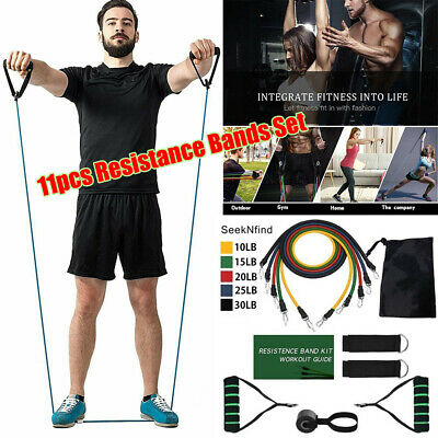 US~ Resistance Trainer Set Exercise Fitness Tube Gym Workout Bands Strength