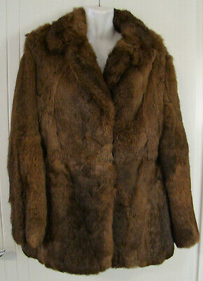 Lapin fur jacket - very soft - brown- lined - Size 14