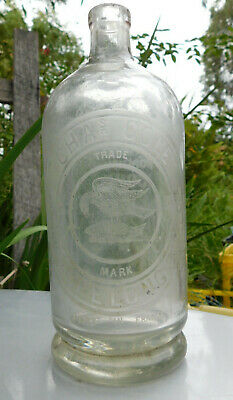 ANTIQUE BOTTLE RARE CHAS COLE GEELONG SEA EAGLE HOLDING FISH OLD BOTTLE 1890's