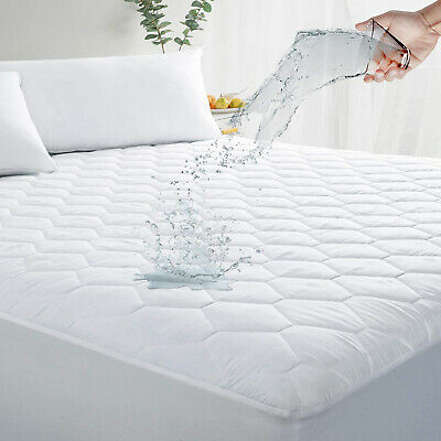 Cooling Waterproof Mattress Pad Hypoallergenic Fitted Quilted Cover Protector