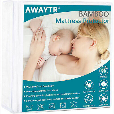 Bamboo Mattress Protector Waterproof Cooling Ultra Soft Breathable Matress Cover