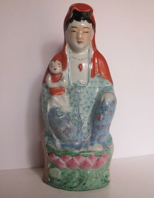 Old Antique Chinese Famille Rose Kwan Yin Goddess Holding Child Statue 9.5""
