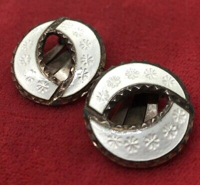 Vintage Sterling Silver Earrings 925S 925 Enamel Clip On Scandinavian White