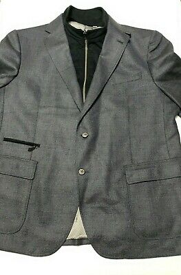 Robert Graham Mens 52 Tailored Fit Two Button Downhill Blazer Jacket Gray Wool
