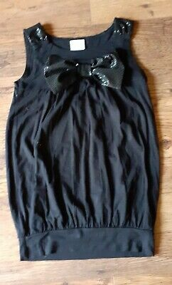 Black Girls Party Top Next  Age  7Yr Bow Sequin Effect Sleeveless