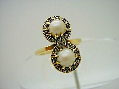 Antique 18ct Gold Real Salt Water Pearl Diamond Ring size O