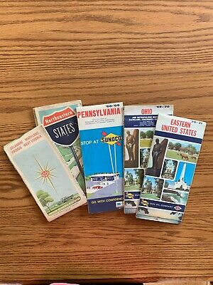 LOT OF 5 VTG ROAD MAPS GAS OIL Sunoco AAA Ohio PA Northeast