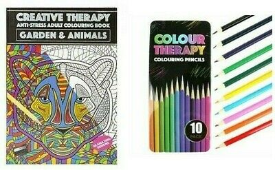 A4 Colouring Book Pencils Childrens Adult Anti-Stress Colour Creative Therapy