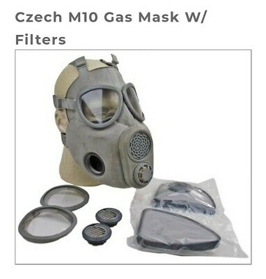 Military Gas Mask Czech M10 New Filters & Lens  Full Face Surplus Gas Mask.