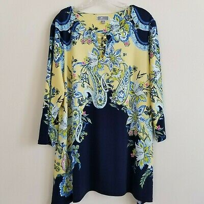 JM Collection Floral Tunic Top Womens XL Beaded Stretchy Blue Yellow Green White