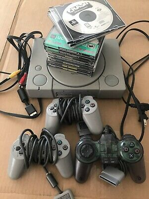 Sony PlayStation PS1 Console System Controller Bundle Lot SCPH-5501 with 9 Games