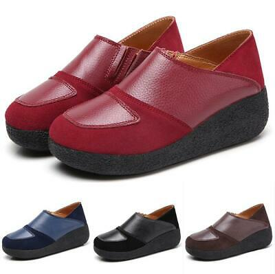 Women's PU Leather Wedge Med Heels Loafers Slip On Comfy Creeper Casual Shoes