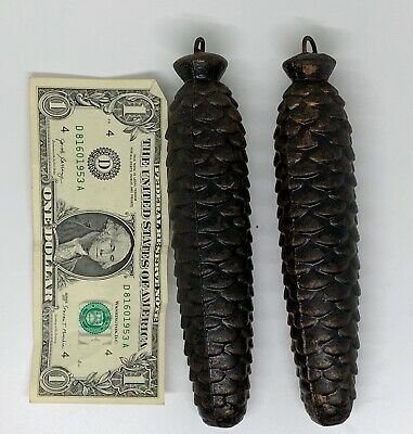 2 Vintage Cast Iron Pine Cone  Cuckoo Clock  weights