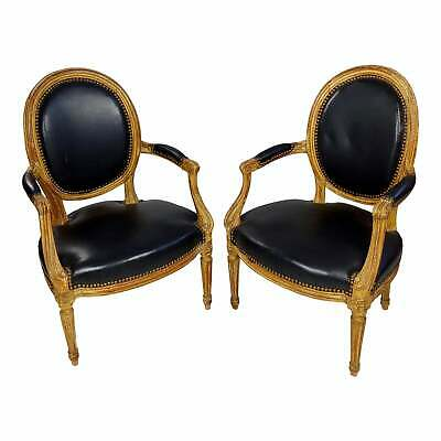 18th century original French Chairs Black leather Upholstered -a Pair