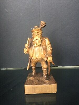Hand Carved Wood Figure Man With Pipe Cane And Gun