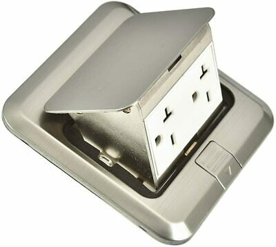 Pop Up Floor Outlet Covers Box Kit 16 Amp Stainless steel Receptacle Outlet