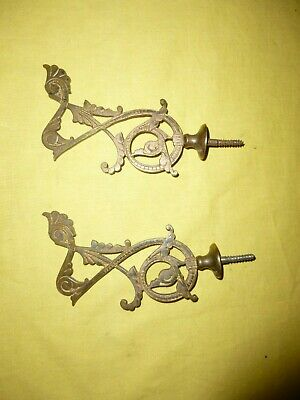 Antique Elaborate Brass Hooks, a lot of 2