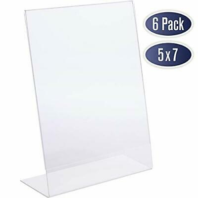 Slant Back Acrylic Sign Holder 5x7 - Clear Picture Frame Stand, 5 x 7 Inches