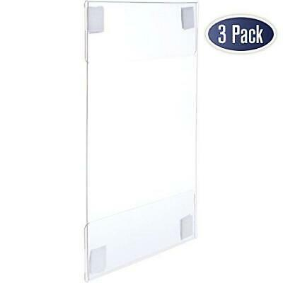 Acrylic Sign Holder with Hook and Loop Adhesive, 8.5 x 11 inches - 3 Pack