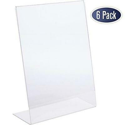 Slant Back Acrylic Sign Holder - 8.5 x 11 Inches Premium Portrait Ad Frames,