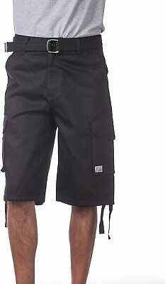Pro Club Men's Cotton Twill Cargo Shorts with Belt - Regular and Big & Tall Size