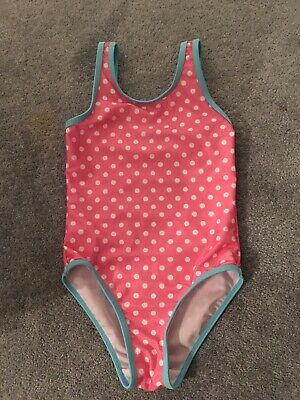 Girls Swimming Swim Suit Costume Pink Blue White Spots 5 6 7 Years Worn Once