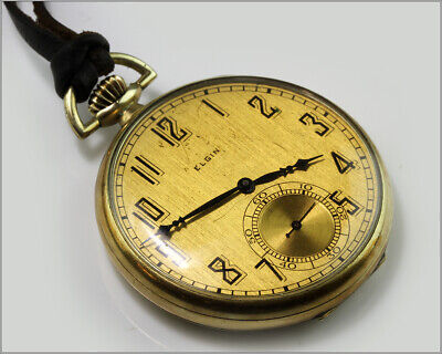 Runs Antique 1925 ELGIN 15J 12s 315 Open Face Pocket Watch w/Leather Braided Fob