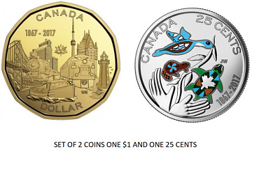 CANADA 2017 New Loonie 150th CONNECTING A NATION AND 25 CENT COLO (BU From roll)