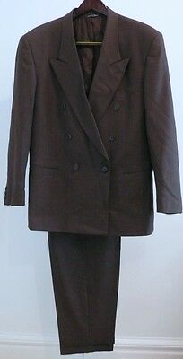 ENZO TOVAREH Brown Double Breasted Pleat Front Wool Suit Sz 42