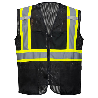 Black Safety Vest Reflective High Visibility Breathable Mesh with Pockets