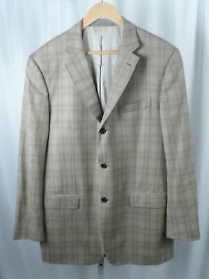 CANTARELLI FOR BERGDORF GOODMAN Tan Glen Plaid 3 Button Wool Sports Coat Sz 44L