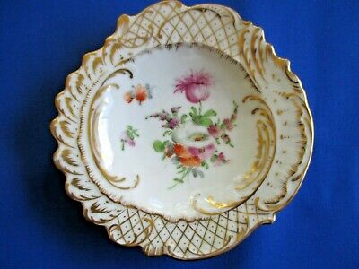 Antique Dresden Small Hand Painted Floral Flowers Porcelain China Pin Tray Plate