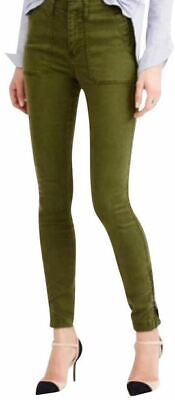 J Crew 25 Pants Cargo Utility Olive Army Green Slim Skinny Stretch Pant Women 25