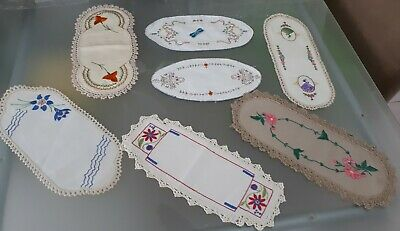 7 Vintage Embroidery Sandwich Tray Doilies