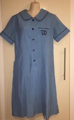 Old Style School Uniform Blue W motif Group Fancy Dress Approx M (50cm Underarm)