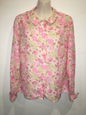Vintage Retro 1970's 60's St Michael Flower Power Floral Shirt Size 14