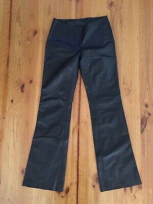 Vintage Retro Skins & Things Flare Black Leather Pants Size 8 *Great Condition
