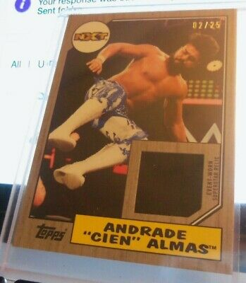 """2017 Topps Wwe Heritage Andrade """"Cien"""" Almas Sp Event-Used Mat Relic 2/25"""