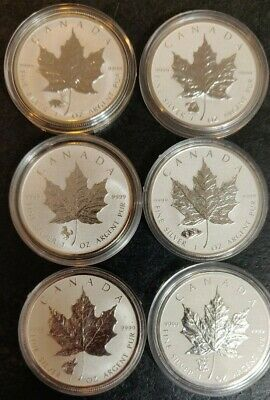 LOT OF 6 - Canada Maple Leaf PRIVY Reverse Proof .9999 Pure 1oz Silver Coins
