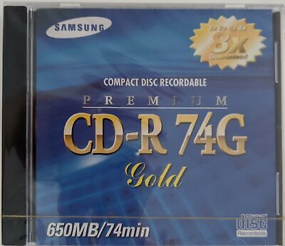 Samsung Compact Disc Recordable Premium CD-R 74G Gold 650MB 74 Minutes 8X NEW
